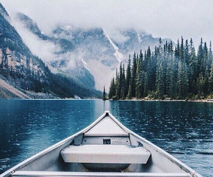 mountains, boat, and travel image