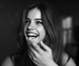 smile, barbara palvin, and black and white image