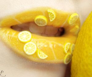 lips, lemon, and yellow image