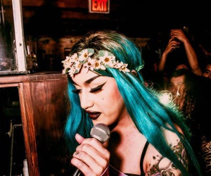 adore, blue hair, and on stage image