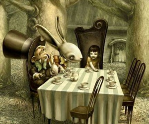 alice in wonderland, alice, and tea party image