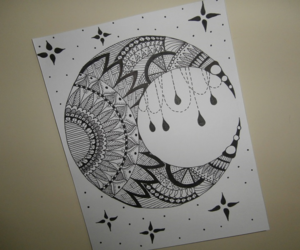 abstract, drawing, and moon image