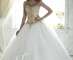 ball gown, strapless, and embroidered image