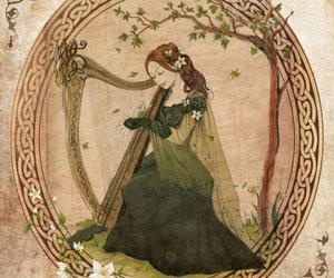 art, celtic, and harp image