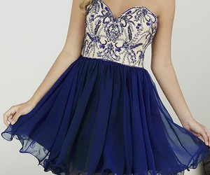 a-line, navy, and strapless image