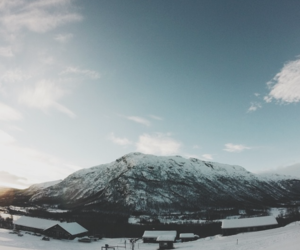 mountain, norway, and snow image