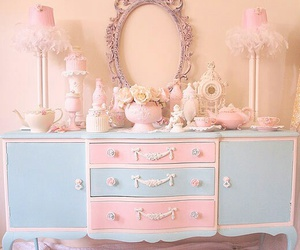 vintage, blue, and girly image