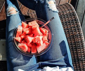 jeans, summer, and watermelon image