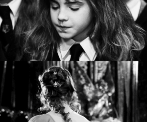 black and white, deathly hallows, and hermione granger image