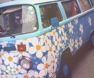 flowers, hippie, and van image