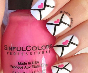 love heart nails, easy valentine's nails, and romantic nails image