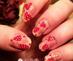 valentine's nails, romantic nails, and love heart nails image