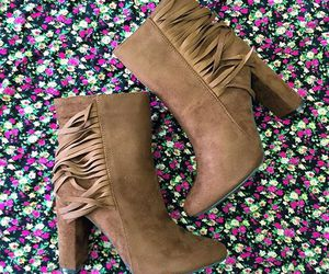 fringe boots, fringe booties, and brown ankle booties image