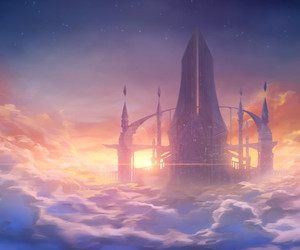 city, clouds, and fantasy image