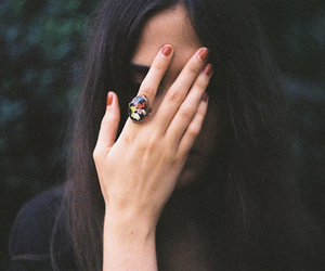 girl, ring, and hand image