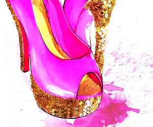 etsy, fashion illustration, and pink shoes image
