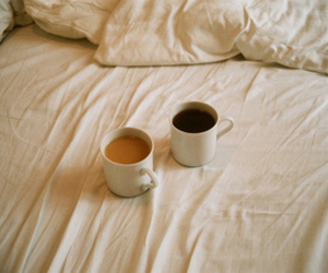 bed, indie, and coffee image