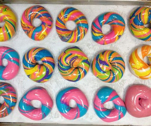 bagels, rainbow, and cute image