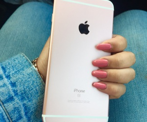 apple, denim, and cute nails image