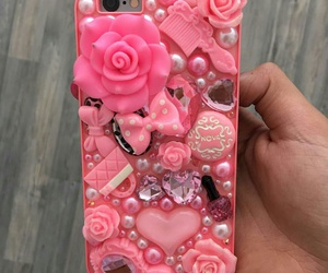 cellphone, flowers, and glitter image