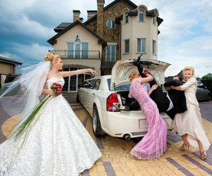 wedding, bride, and funny image
