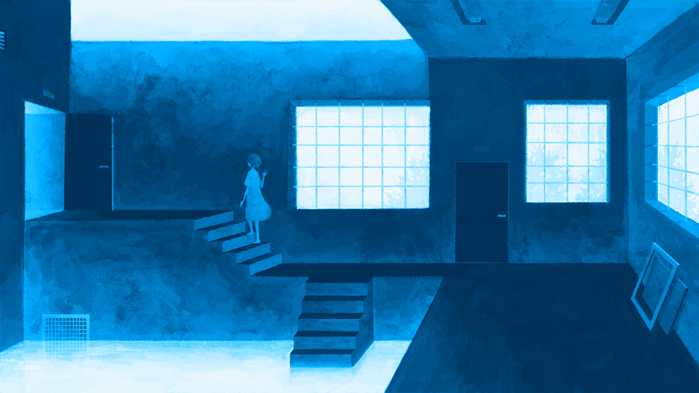 alone, blue, and girl image