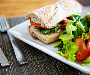 food, salad, and sandwich image