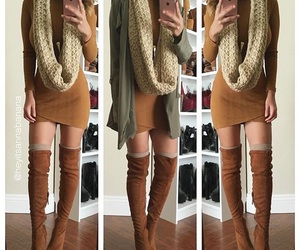 fashion, scarf, and over the knee boots image
