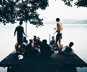 friends, summer, and lake image