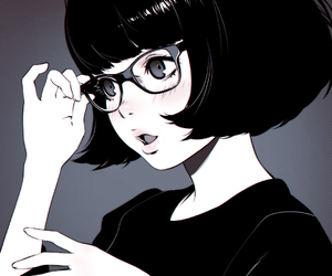 anime, art, and glasses image