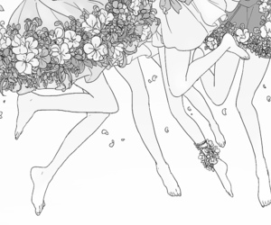 flowers, girl, and legs image
