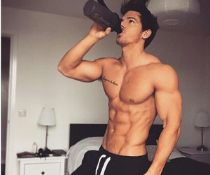 black, six pack, and fitness image
