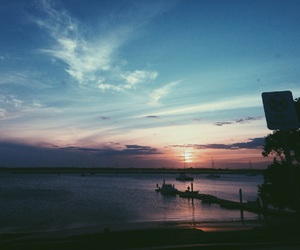 boats, sunset, and water image