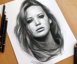 drawing, Jennifer Lawrence, and pencil image