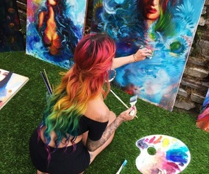 art, hair, and painting image