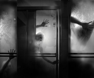 black and white, creepy, and horror image