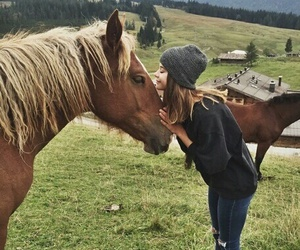 beautiful, girl, and horse image