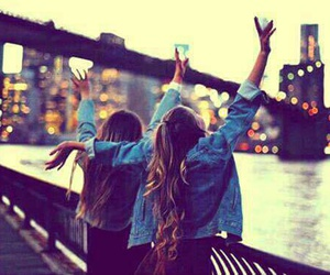 hair, friends, and bridge. image