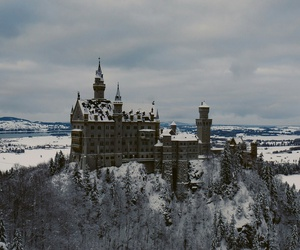 castle, city, and snow image
