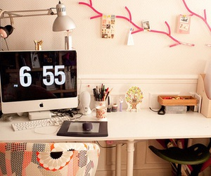 room, apple, and desk image