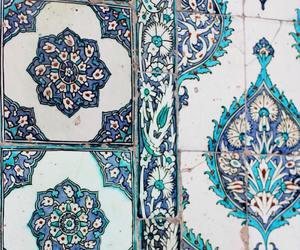 blue, tiles, and pattern image