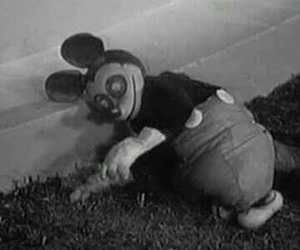 black and white, dead, and disney image