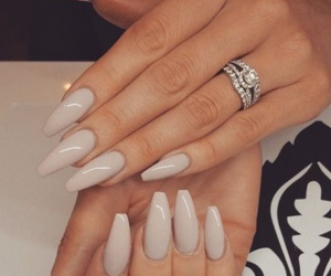beige, nails, and coffin shape image
