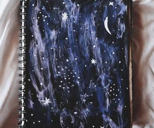 art, stars, and moon image