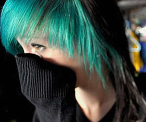 green hair, shy, and cute image