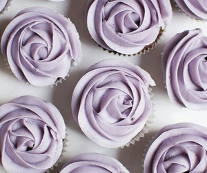 food, lilac, and cupcakes image