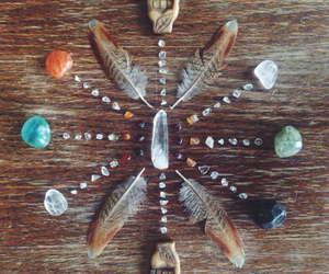 feather, indie, and crystal image