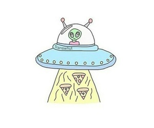 alien, pizza, and overlay image