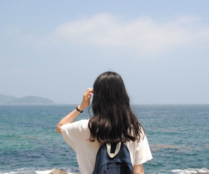girl, blue, and sea image
