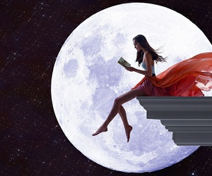 moon, book, and night image